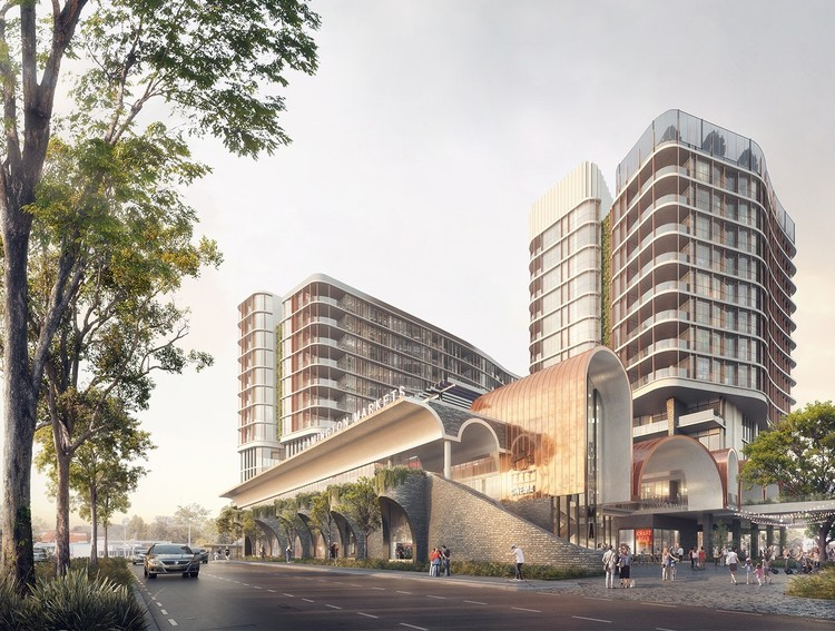 Sculptural Mixed-Use Complex Designed for Suburban Queensland, Courtesy of Doug and Wolf