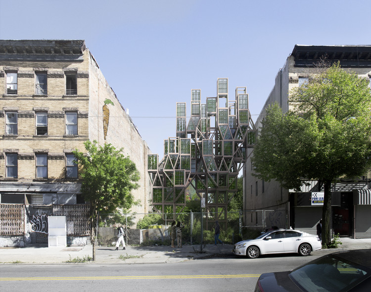 Framlab Imagines Modular Vertical Urban Farms on the Streets of Brooklyn, Courtesy of Framlab