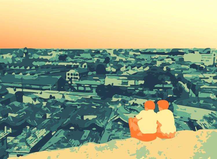 Bairro da Liberdade: o apagamento histórico da memória negra em São Paulo, Visual do Morro do Piolho com casas na Rua Lavapés e o conjunto da Light ao Fundo antes de ser demolido. Ilustração feita pelas autoras com base em foto do Acervo Casa da Imagem DPH/SMC