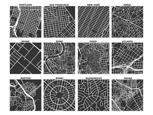 """Street Networks of Every City (a square mile). The consistent spatial scale allows us to easily compare different street networks. Image © Geoff Boeing. Graphics from """"Spatial Information and the Legibility of Urban Form: Big Data in Urban Morphology"""" Under License CC BY 4.0"""