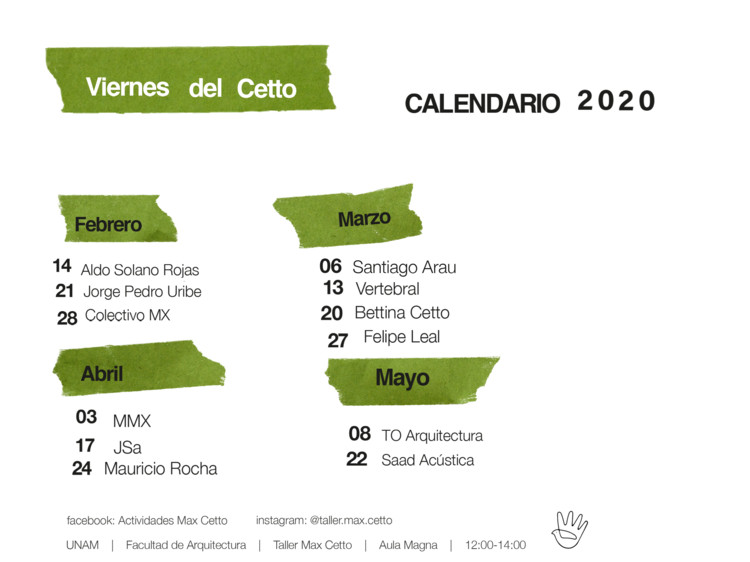 Viernes del Cetto 2020, Esta imagen contiene el calendario asignado para las conferencias del programa Viernes del Cetto, elaborado por Actividades Max Cetto.