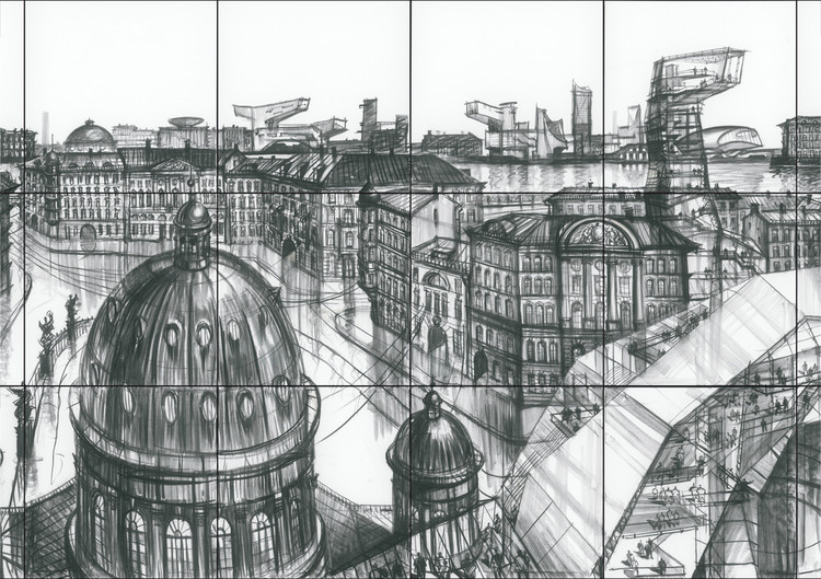 Une Ville Dessinée , Sergei Tchoban, 'Old New Above', Charcoal on Canvas, 2019