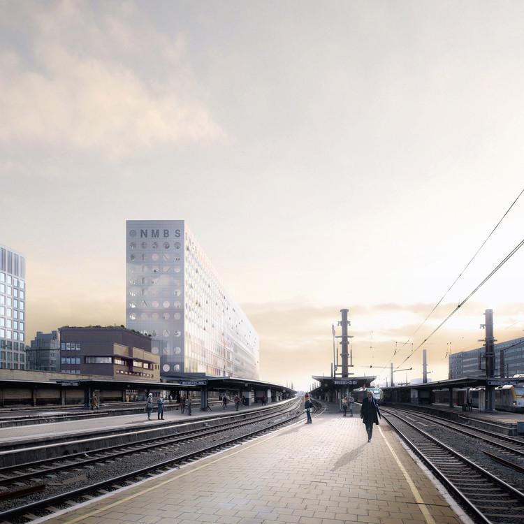 OMA Designs New Headquarters for Belgium's National Railway Company, Courtesy of Luxigon