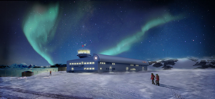 Construction Works Begin on Hugh Broughton's Discovery Building at Rothera Research Station in Antarctica, Rothera. Image Courtesy of Hugh Broughton Architects