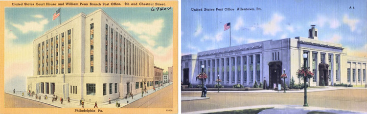 Two public buildings, both built and funded in the 1930s through the WPA: The Robert N.C. Nix Federal Building (left), in Philadelphia, and the Allentown, Pennsylvaia, Post Office. Images from Wikimedia Commons.