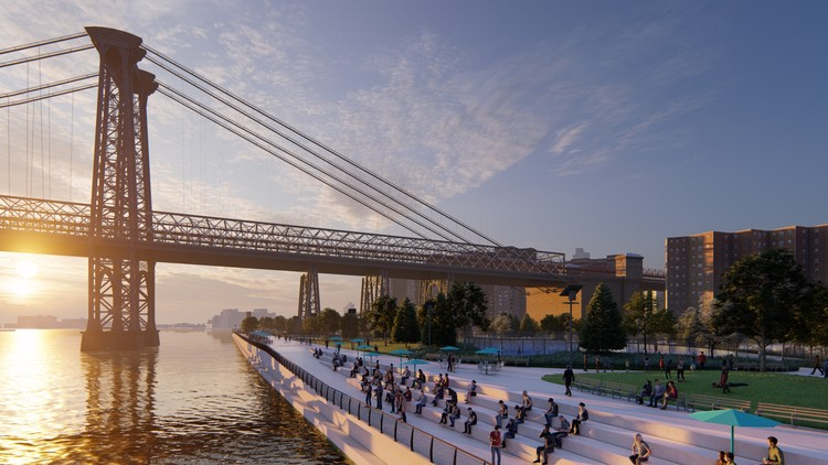 The BIG U: NYC Community Spaces as Barriers for Flooding, Design by the BIG Team. Image Courtesy of Lumion