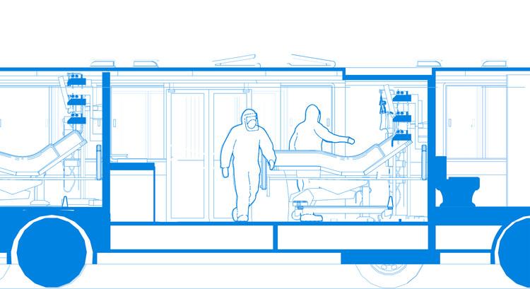 Buses de Transmilenio en desuso como unidades de apoyo hospitalario para emergencia de COVID-19, Cortesía de 57uno
