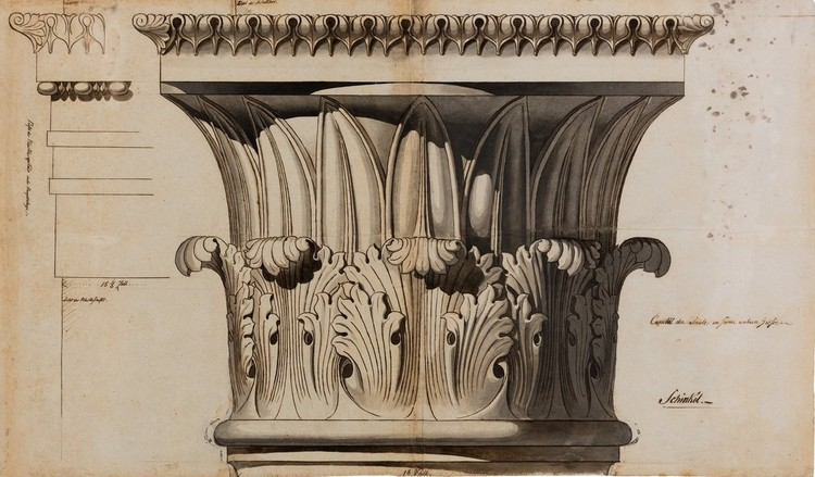 Drawing Matter Launches 2020 Writing Prize, Design for a pilaster capital for main floor Tilebein House. Image Courtesy of Drawing Matter, Karl Friedrich Schinkel