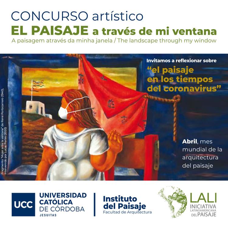 "Concurso internacional: El paisaje a través de mi ventana, Instituto del Paisaje, fragmento ""Mujer ante la ventana"" de René Portocarrero (1940),  intervenido por Lucas Períes (2020)"