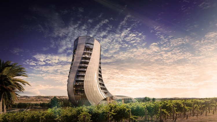 Intro Architecture Designs Sweeping Tower for Barossa Valley Vineyard, Courtesy of Intro Architecture