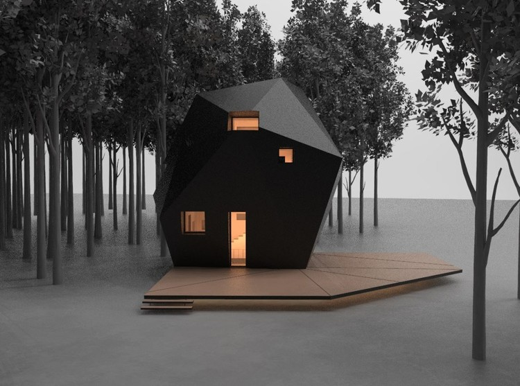 The design of the Meteorite allowed for both a monolithic exterior and an intimate interior and room for secondary spaces for installation and storage. Courtesy of Kivi Sotamaa