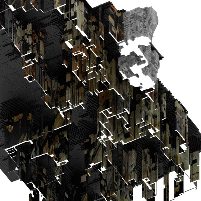 A worm's eye view of NN_House 1 reveals the back and forth between 3D neural network design and the limits of timber construction. Courtesy of Casey Rehm