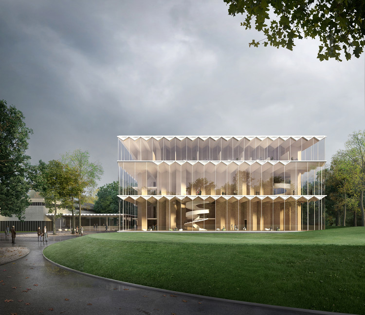 Gilles Retsin and Stephan Markus Albrecht's design for Nuremberg Concert Hall expresses the lightness of timber using 30-foot overhead CLT modules visible from the exterior.. Image© Filippo Bolognese
