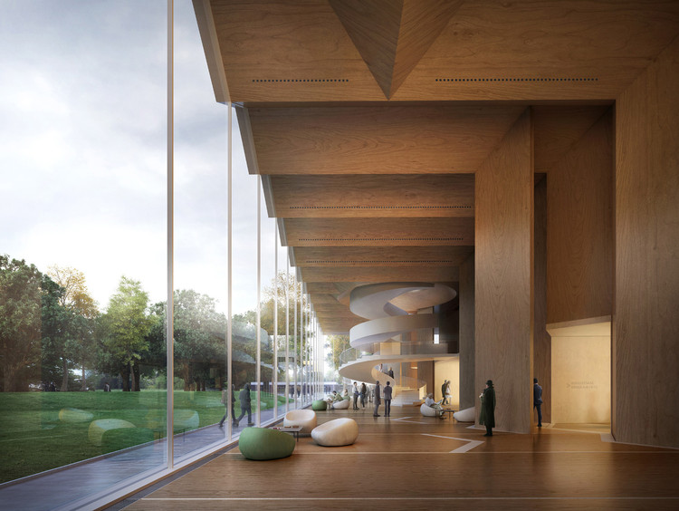 Materiais do futuro: 4 arquitetos que estão levando a madeira laminada cruzada a outro nível, Gilles Retsin and Stephan Markus Albrecht's Nuremberg Concert Hall proposal takes advantage of the project's location in the Bavaria region a Germany, an area known for its abundance of timber. Image© Filippo Bolognese