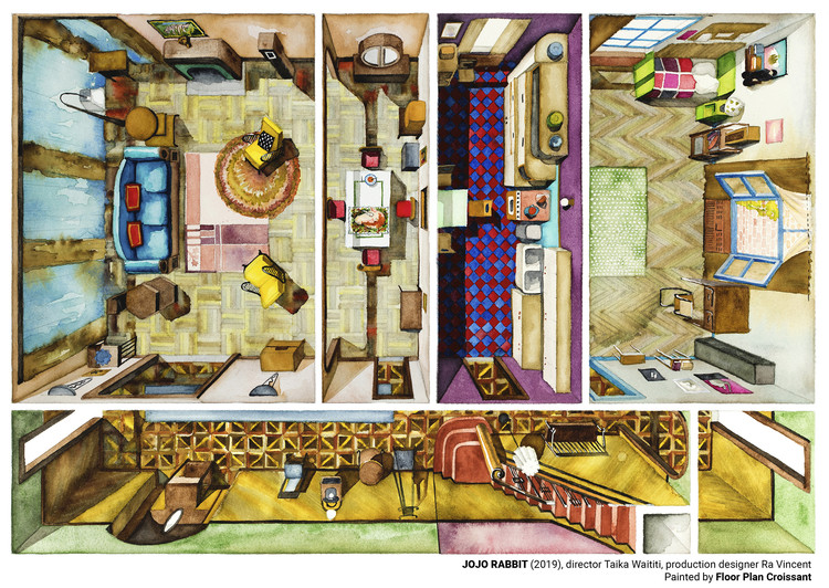 Illustrated Movie Set Plans from 'Parasites', 'Pain & Glory' and 'Jojo Rabbit', © Floor Plan Croissant