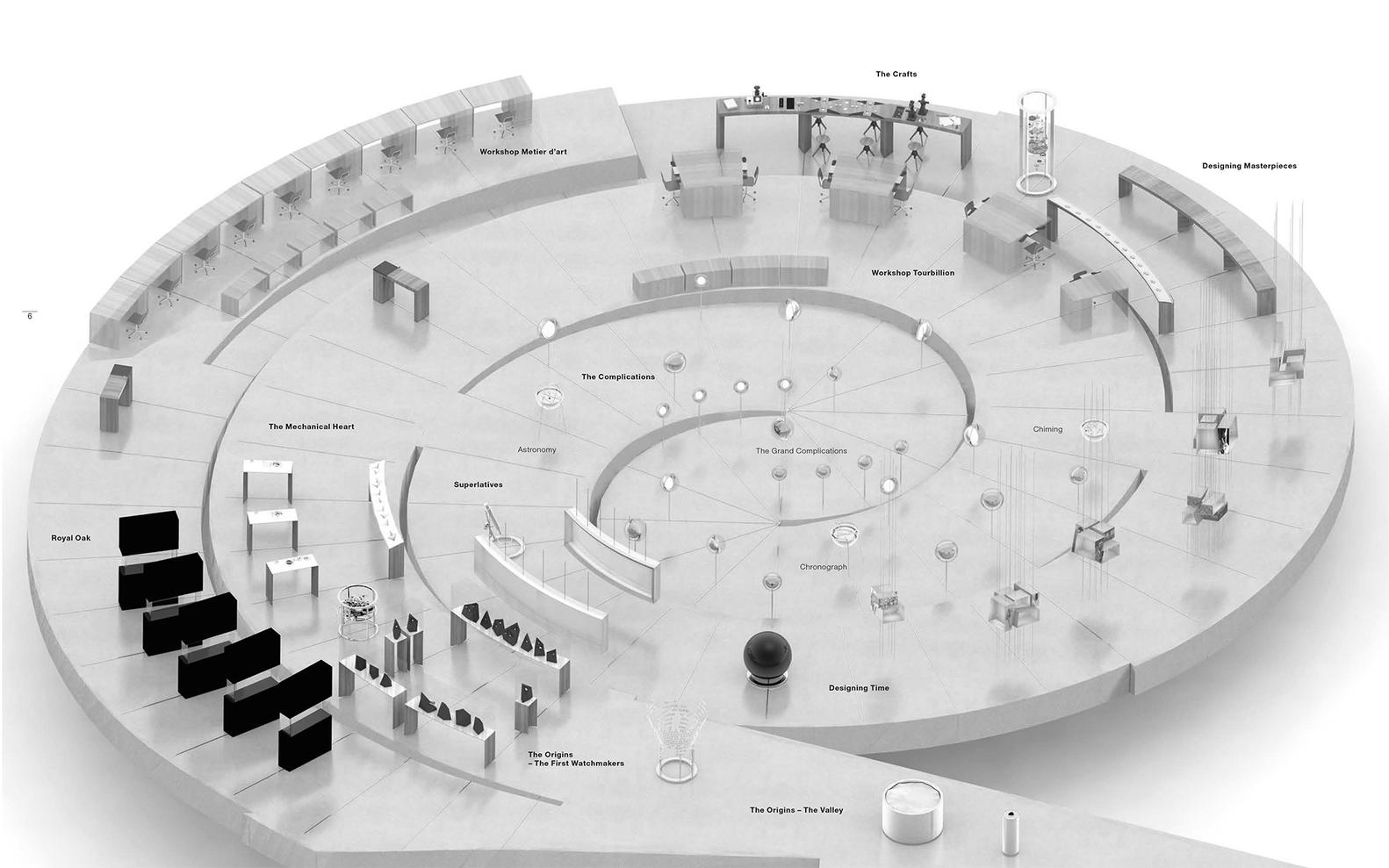 Musée Atelier Audemars Piguet / BIG + ATELIER BRÜCKNER + CCHE,Exhibition plan