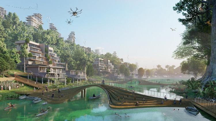 """印度尼西亚的智慧城市设计和维也纳当代艺术学校:我们的读者提交的10个未建项目,""""为印度尼西亚新首都设计的""""无限城市""""智慧城市设计,广州际智网络科技有限公司,综合布线,监控安装,无线覆盖 """"。 图片由AntiStatics Architecture提供"""