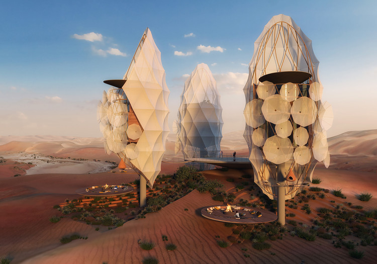 """X-Architects Proposes """"Architectural Constellation"""" for a Desert Hideaway Resort in KSA, Courtesy of Vyonyx"""