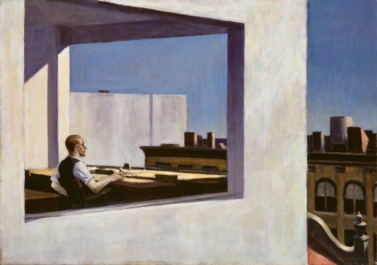 Living In Isolation, Edward Hopper, Office in a small city, 1953