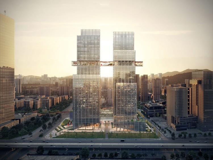 Comienza la construcción del CMG Qianhai Global Trade Center de OMA en Shenzhen , Cortesía de Luxigon