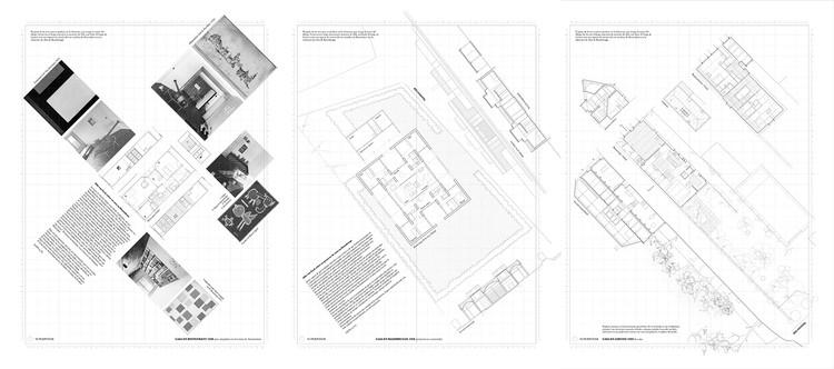 Cómo dibujar la casa de Aldo van Eyck, Las tres casas de izquierda a derecha: Binnenkant (1948) Baambrugge (1958), Loenen (1963) Elaboración propia © Alejandro Campos Uribe. Fotografías propiedad del Archivo van Eyck. Image Cortesía de Revista rita_
