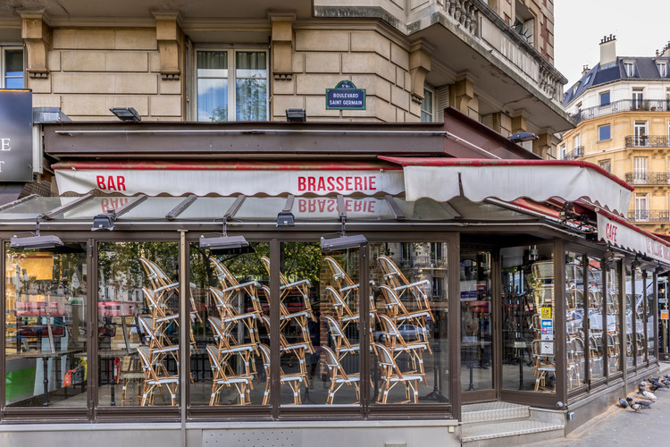 MASS Releases Spatial Strategies for Restaurants in Response to COVID-19, Paris, France - April 17, 2020: Restaurant brasserie on Boulevard Saint Germain is closed due to epidemic of coronavirus COVID19 in Paris.. Image via Shutterstock/ By Jerome LABOUYRIE