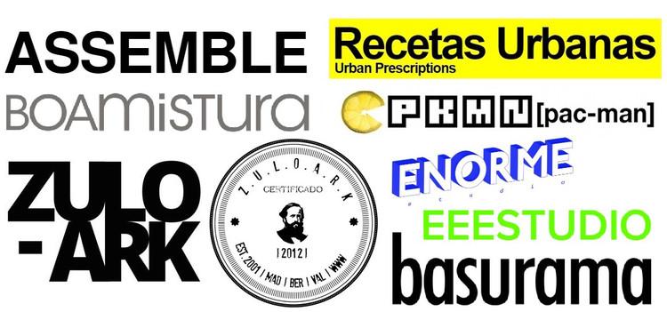 Trasgresión, experimentación y comunicabilidad de lo gráfico en arquitecturas colectivas, Logos corporativos de los seis colectivos de arquitectura, extraídos de https://arquitecturascolectivas.net/, http://www.recetasurbanas.net,  http://zuloark.com, http://www.boamistura.com, http://www.eeestudio.es, https://enormestudio.es  y https://assemblestudio.co.uk/. Image Cortesía de Revista rita_