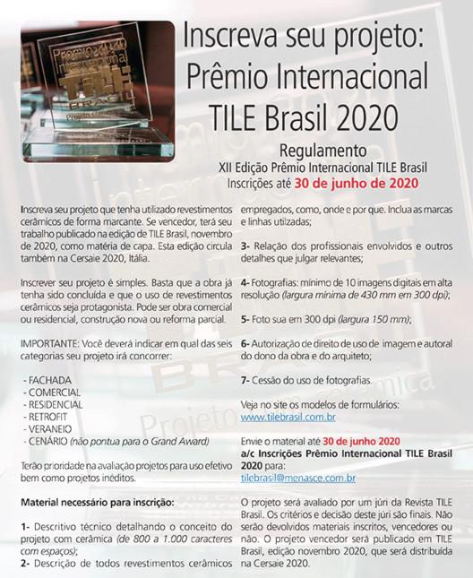 Inscrições Abertas para o XII Prêmio Internacional TILE Brasil - Projeto com Cerâmica, Inscreva seu Projeto com Cerâmica