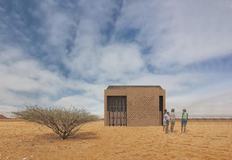 Terra, palha e pixels: um novo modo de apresentar a arquitetura e a arte angolanas, Fachada do pavilhão de Yolana Lemos. Image Cortesia de Cabana de Arte