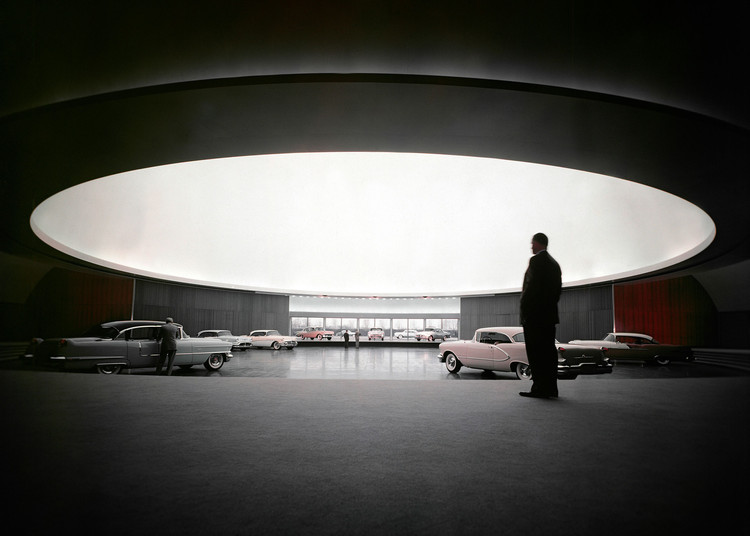 Etheral Luminosity from Above: General Motors Technical Center, Styling auditorium at General Motors Technical Center in Warren, Michigan / USA. Architect: Eero Saarinen.. Image © General Motors