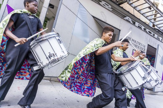 Mabel O. Wilson, Bryony Roberts, and the Marching Cobras of New York, Marching On, 2017–18. Commissioned by Storefront for Art and Architecture, exhibition at Storefront for Art and Architecture, supported by the National Endowment for the Arts, the Graham Foundation, and the LMCC. Photo: Jenica Heintzelman.