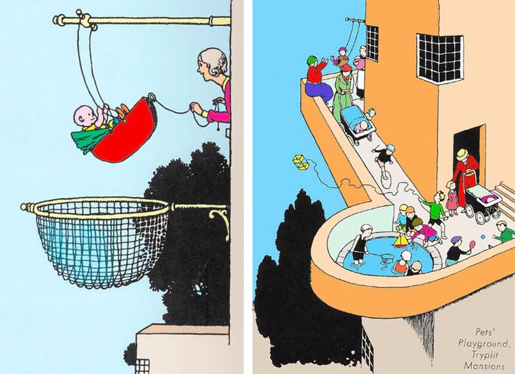 Outras cidades impossíveis: uma perspectiva da criança sobre a pandemia, Ilustrações de Heath Robinson. Domínio Público