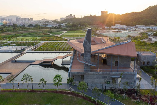 ventilation shaft and the roof of folded planes. Image Courtesy of NODE Architecture & Urbanism