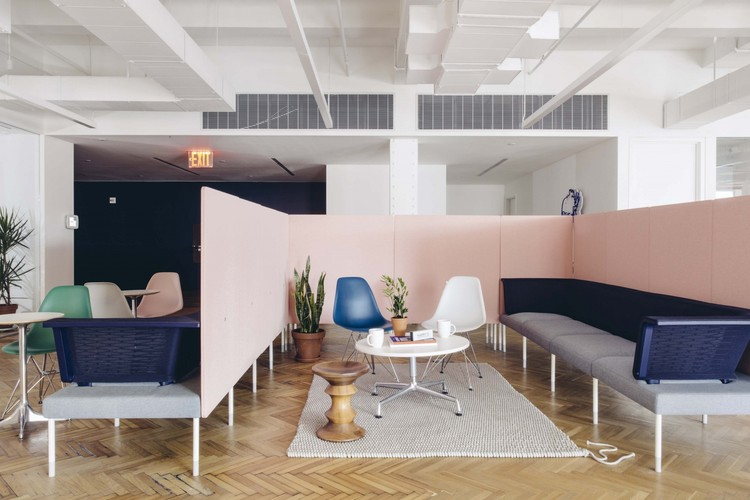 Measuring the Fallout of COVID-19 for the Design Industry, The Industry Impact Survey found that workplace projects have generally been put on hold as clients consider rightsizing their office spaces. Shown here: the New York offices of the men's care start-up Harry's. Courtesy Geordie Wood