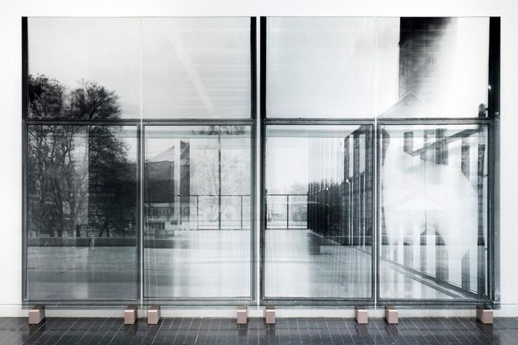 Exhibition 'Screens and Sieves', National Gallery, Shortly Before Renovation, 2017, 230 x 380 cm, transparent silkscreen print on glass