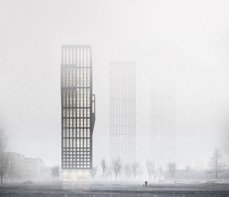 De las artes visuales al render: La relevancia de las atmósferas en la visualización arquitectónica, [Render] Mancunian Tower (Tim Groom Architects). Image Cortesía de Darcstudio