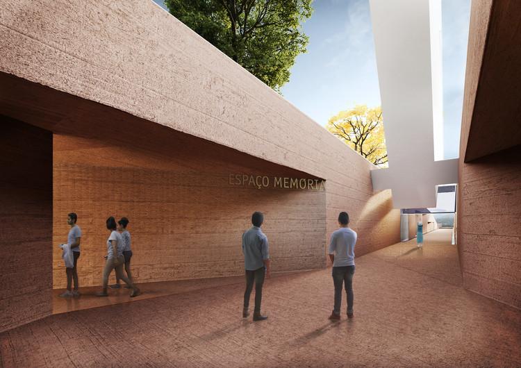 Gustavo Penna vence concurso para projetar Memorial Brumadinho em homenagem às vítimas, Entrada do Espaço Memória. Cortesia de Gustavo Penna Arquiteto & Associados