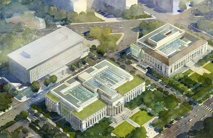 """Renovation of Federal Reserve Board Headquarters Portends a Battle Over Civic Architecture, The $42-million project proposes a mixture of glass infill and additions. The courtyards of both the Eccles Building (left) and the FRB-East Building (right) would also be enclosed with glass. In May, Fortus presented certain """"refinements"""" in response to feedback form the Commission of Fine Arts.(Fortus/Public Record)"""