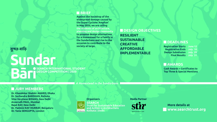 Call for entries: Homestead Design Alternatives for a Family in Sundarbans, A Homestead in the Sundarbans, against the backdrop of the widespread damage caused by the Super Cyclone 'Amphan' in May 2020