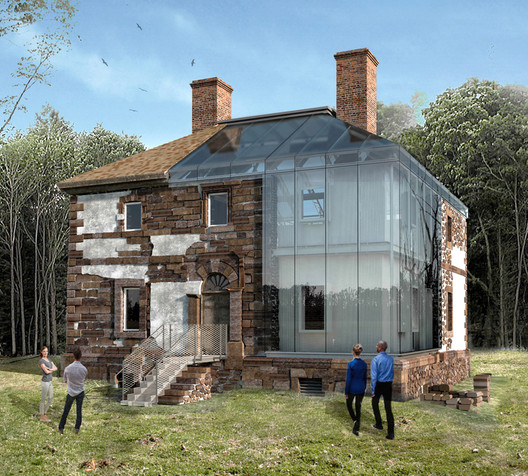 """Exterior rendering of Menokin's """"The Glass House Project"""". Image Courtesy of Machado Silvetti"""