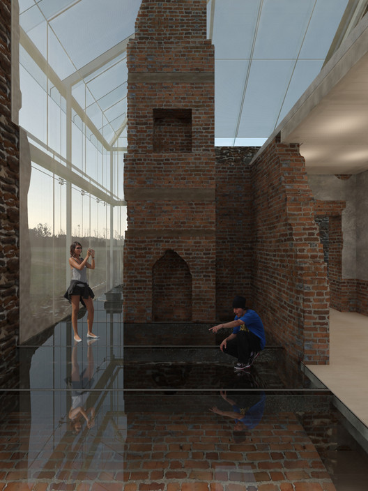 """Interior rendering of Menokin's """"The Glass House Project"""". Image Courtesy of Machado Silvetti"""