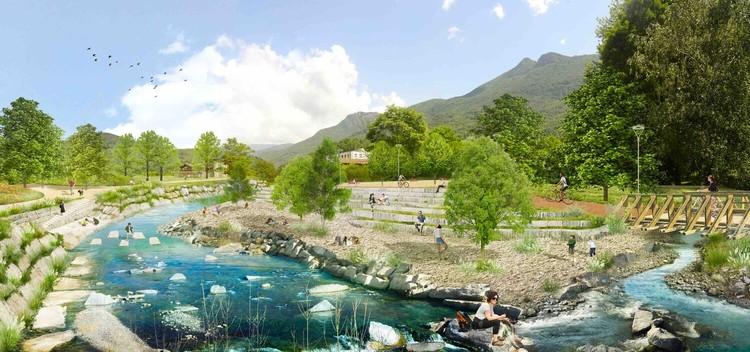 Parc de la rivière Cassarate.  Image courtoisie de LAND Suisse