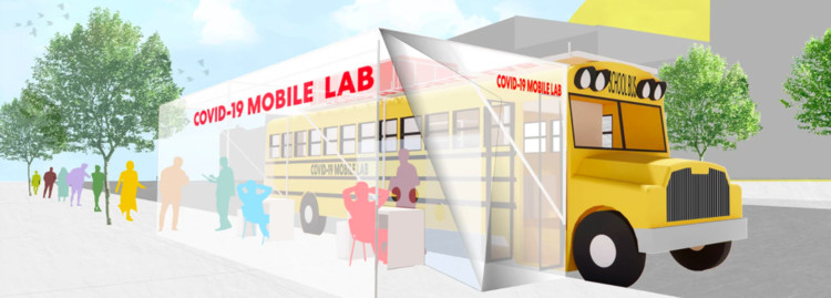 3 Major Architecture Firms Propose School Buses and Shipping Containers for Accessible Testing Labs, Courtesy of Perkins and Will