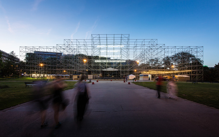 Realismo otimista e autonomia compartilhada: 5 escritórios de arquitetura emergentes, Pavilion of Humanity / CHYBIK + KRISTOF. Image © Lukas Ildza