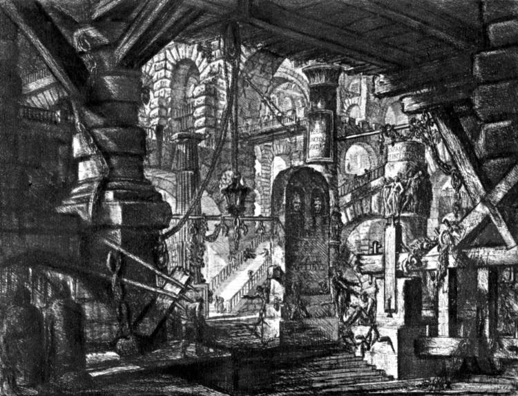 De la serie la prisión imaginaria de Piranesi. Image vía [wikipedia] bajo licencia [CC BY-SA 3.0]