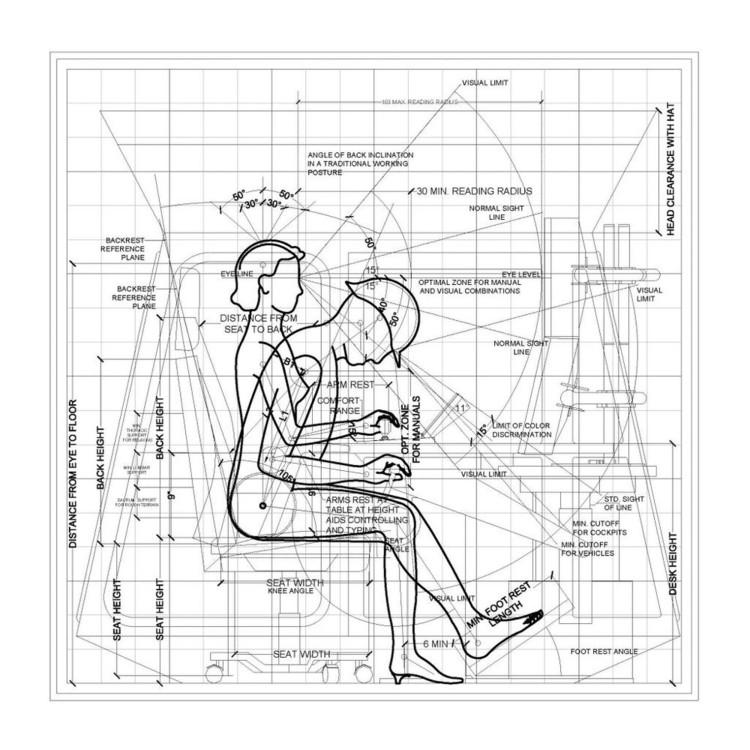 Labour in the Documedia Age, Anthropometric Data - Crane Cabin Operator vs Remote Control Operator. Drawing by Het Nieuwe Instituut 2017. Image Courtesy of Het Nieuwe Instituut