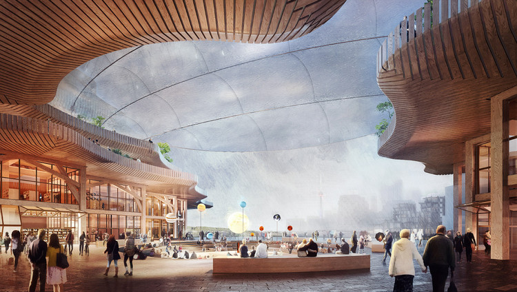 The Upshot of Sidewalk Labs' Canceled Toronto Project, A now-scrapped redevelopment vision for the Toronto lakefront was heavy on timber construction and concern-prompting tech solutions. (Courtesy Sidewalk Labs)