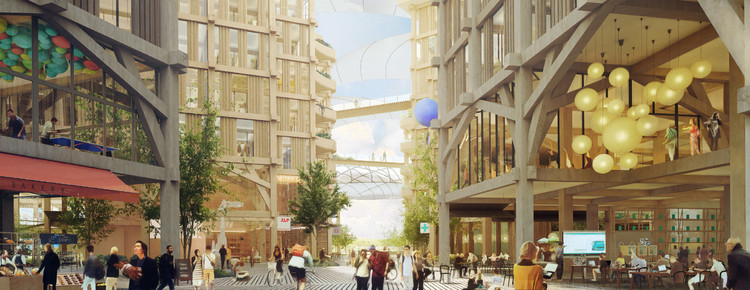 The waterfront district promised to make expressive use of mass timber. (Courtesy Heatherwick Studio)