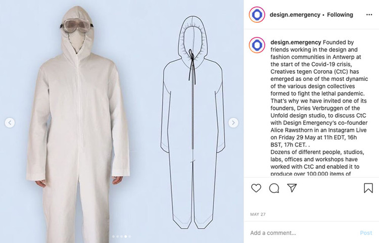 Paola Antonelli and Alice Rawsthorn's Instagram Live Series Examines COVID-19 Designs, As a part of the design.emergency initiative with Paola Antonelli, Alice Rawsthorn recently spoke to Antwerp-based designer Dries Verbruggen about collaborative efforts being made in the fashion-focused city to create over 100 thousand gowns, coveralls, masks, and other PPE. Courtesy design.emergency
