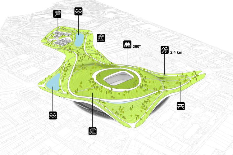 Propuesta de renaturalización del Camp Nou, detalle gráfico de la topografía y nuevas zonas de ocio, deporte y naturaleza. ©ON-A. Image © ON-A